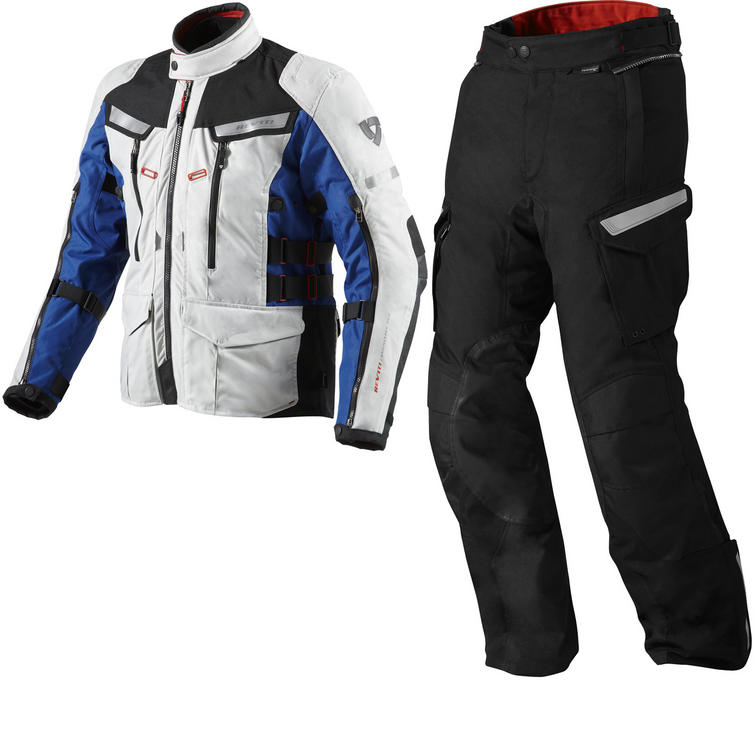 Rev It Sand 2 Motorcycle Jacket and Trousers Silver Blue Black Kit