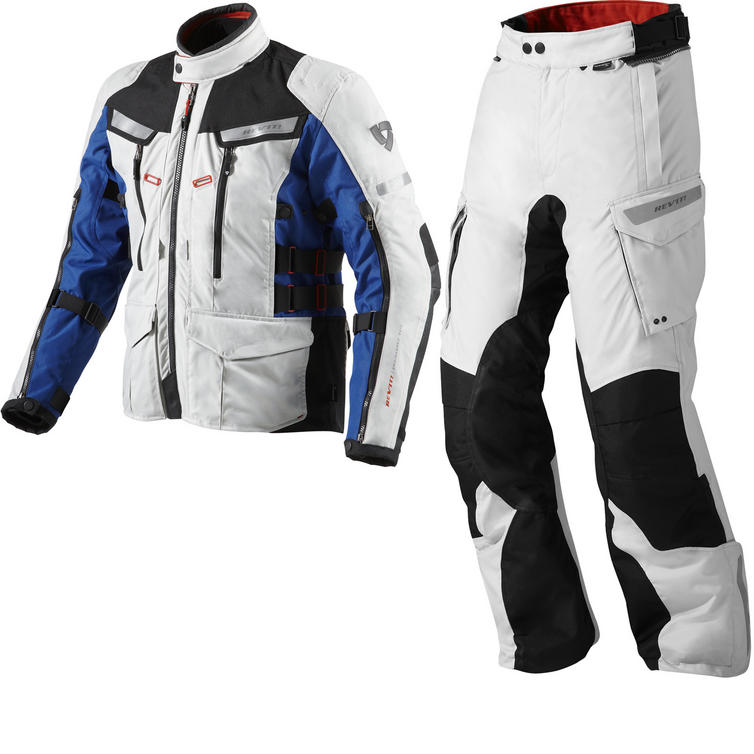Rev It Sand 2 Motorcycle Jacket and Trousers Silver Blue Silver Black Kit