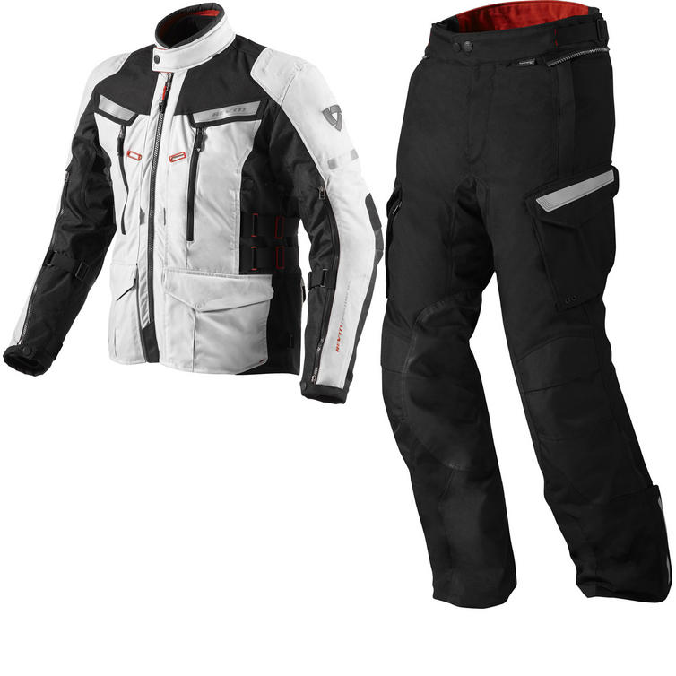 Rev It Sand 2 Motorcycle Jacket and Trousers Black Silver Kit