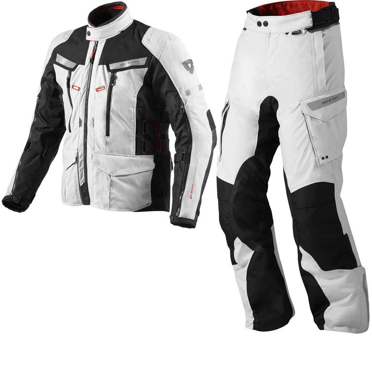 Rev It Sand 2 Motorcycle Jacket and Trousers Silver Black Kit