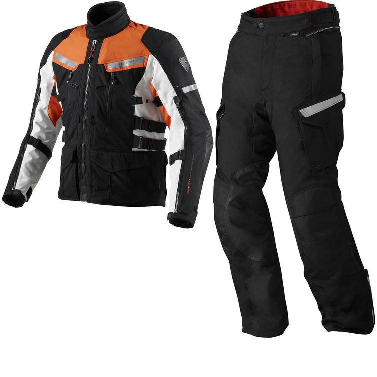 Rev It Sand 2 Motorcycle Jacket and Trousers Black Orange Kit