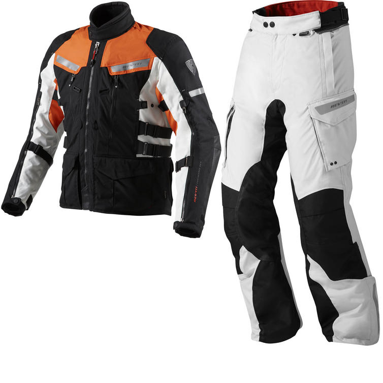 Rev It Sand 2 Motorcycle Jacket and Trousers Black Orange Silver Kit