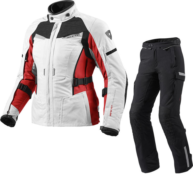 Rev It Sand Ladies Motorcycle Jacket and Trousers Silver Red Black Kit