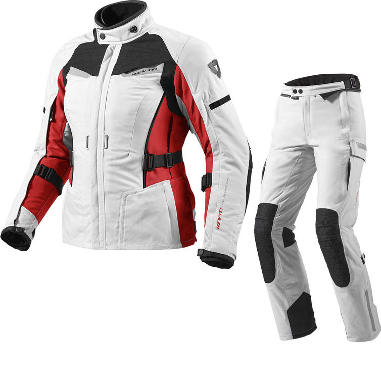 Rev It Sand Ladies Motorcycle Jacket and Trousers Silver Red Silver Black Kit