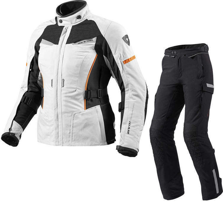 Rev It Sand Ladies Motorcycle Jacket and Trousers Black Silver Black Kit