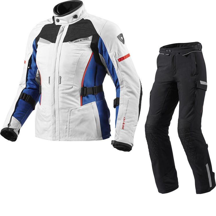 Rev It Sand Ladies Motorcycle Jacket and Trousers Silver Blue Black Kit