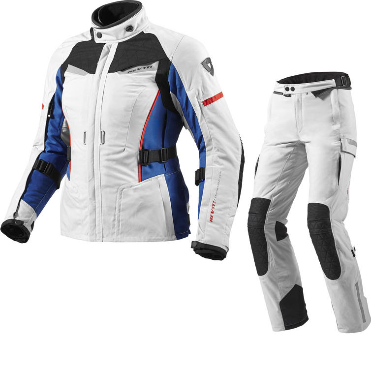 Rev It Sand Ladies Motorcycle Jacket and Trousers Silver Blue Silver Black Kit