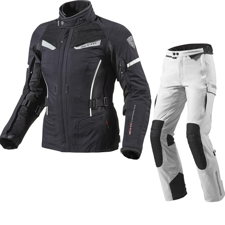 Rev It Sand Ladies Motorcycle Jacket and Trousers Black White Silver Kit