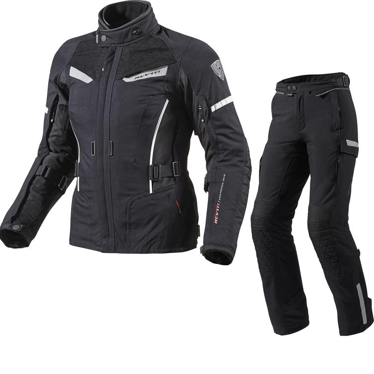 Rev It Sand Ladies Motorcycle Jacket and Trousers Black White Kit