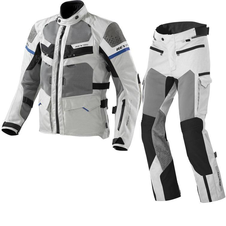 Rev It Cayenne Pro Motorcycle Jacket and Trousers Light Grey Blue Kit