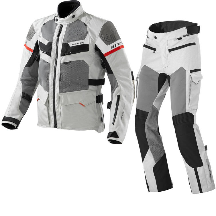 Rev It Cayenne Pro Motorcycle Jacket and Trousers Light Grey Red Kit