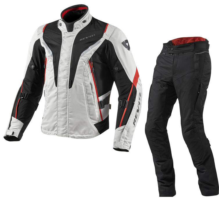 Rev It Vapor Motorcycle Jacket and Trousers Silver Red Black Kit