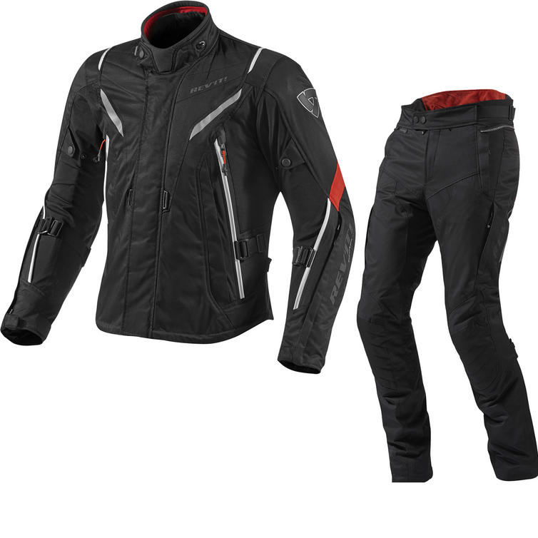Rev It Vapor Motorcycle Jacket and Trousers Black Red Kit