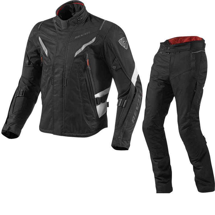 Rev It Vapor Motorcycle Jacket and Trousers Black White Kit