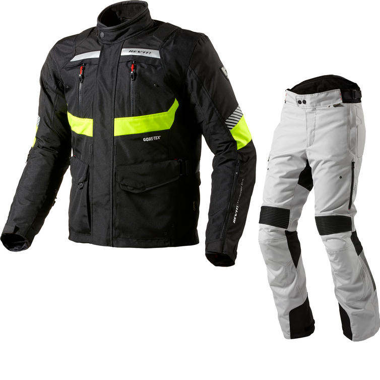 Rev It Neptune GTX Motorcycle Jacket & Trousers Hi-Vis Silver Black Kit