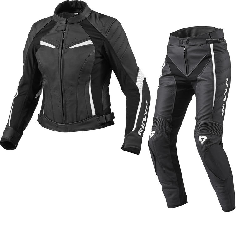 Rev It Xena Ladies Leather Motorcycle Jacket and Trousers Black White Kit