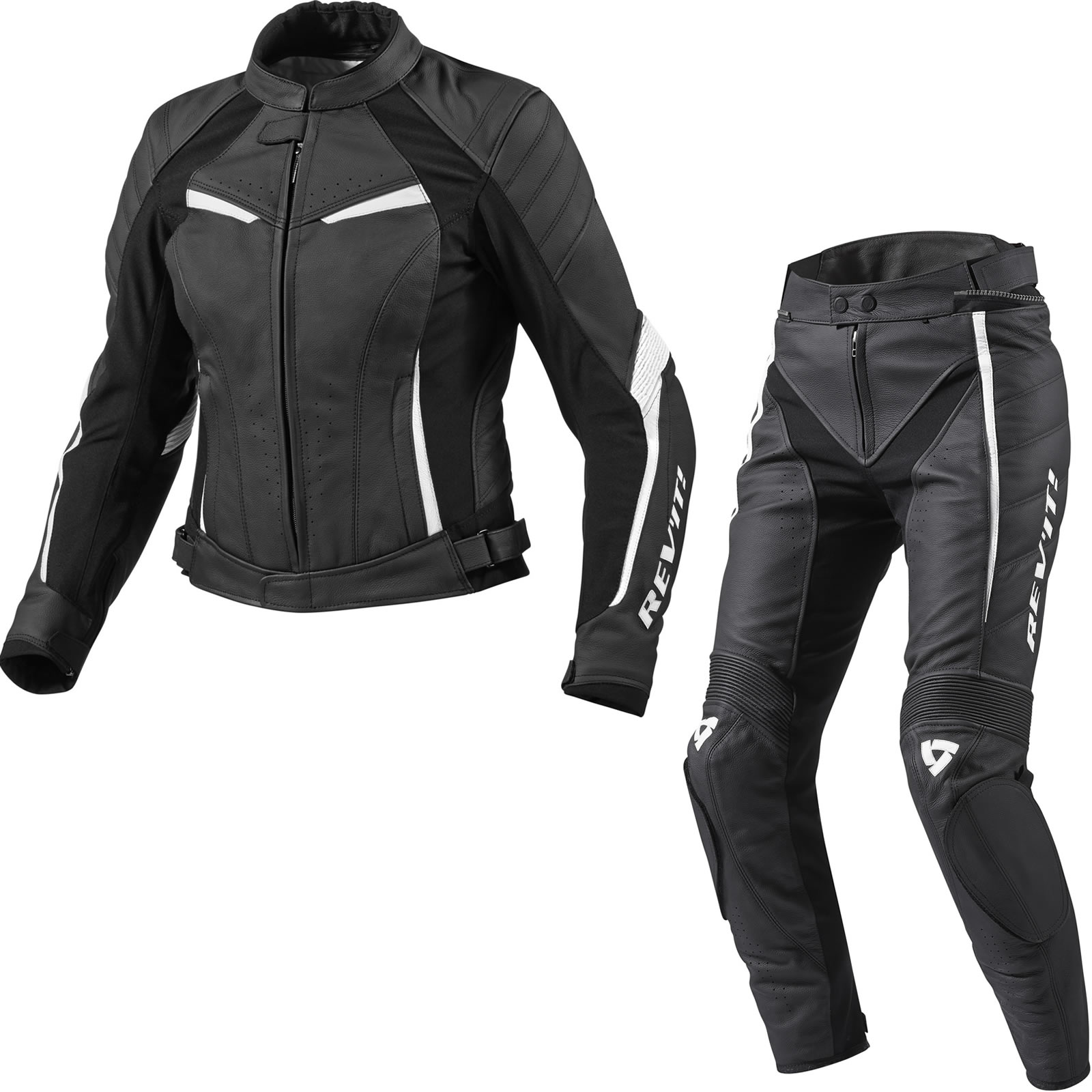 Rev It Xena Ladies Motorcycle Leather Jacket Trousers Black White ...