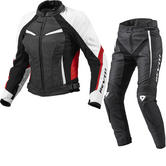 Rev It Xena Ladies Leather Motorcycle Jacket and Trousers Black White Red Kit