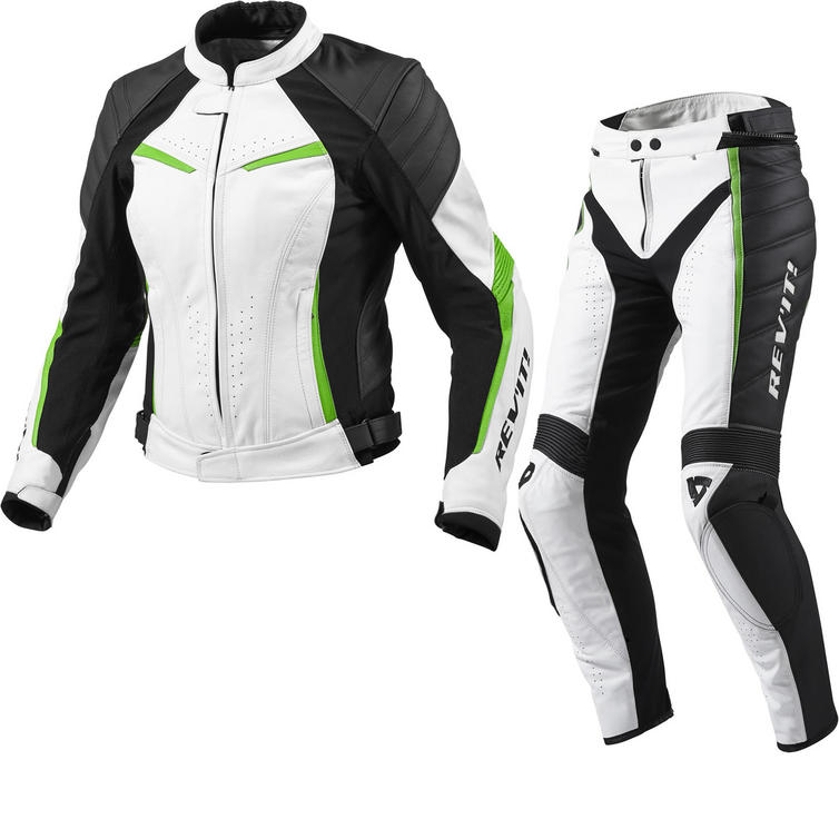 Rev It Xena Ladies Leather Motorcycle Jacket and Trousers White Acid Green Kit