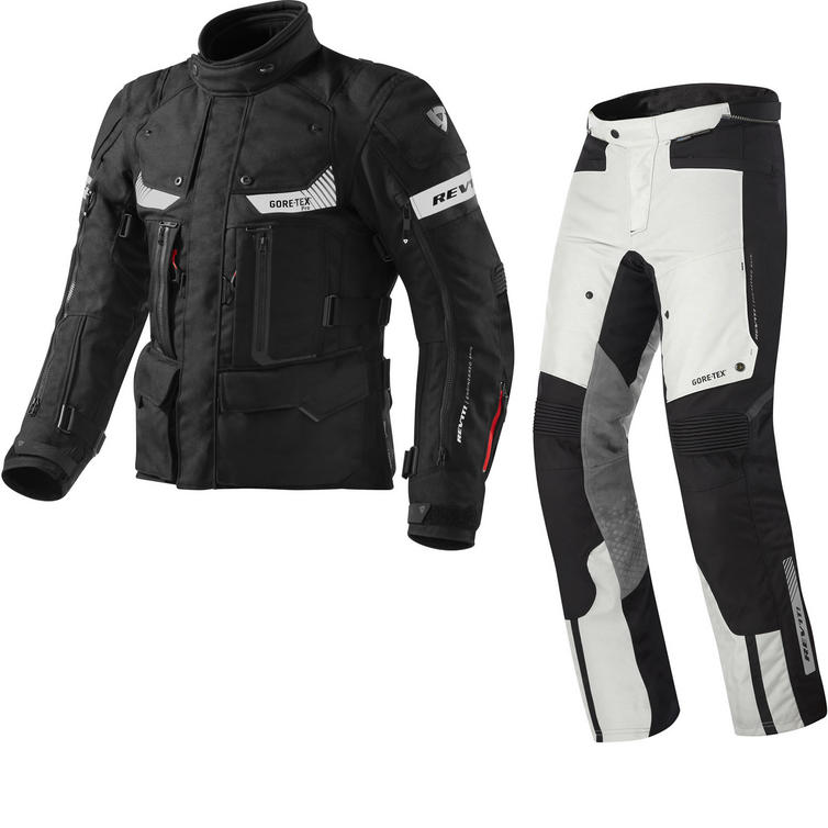 Rev It Defender Pro GTX Motorcycle Jacket and Trousers Black Grey Kit