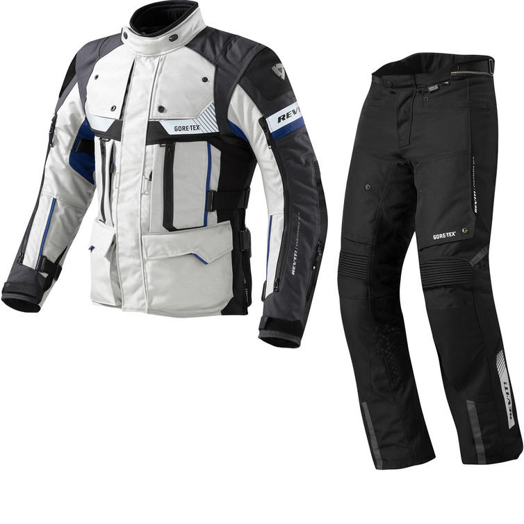 Rev It Defender Pro GTX Motorcycle Jacket and Trousers Grey Blue Black Kit