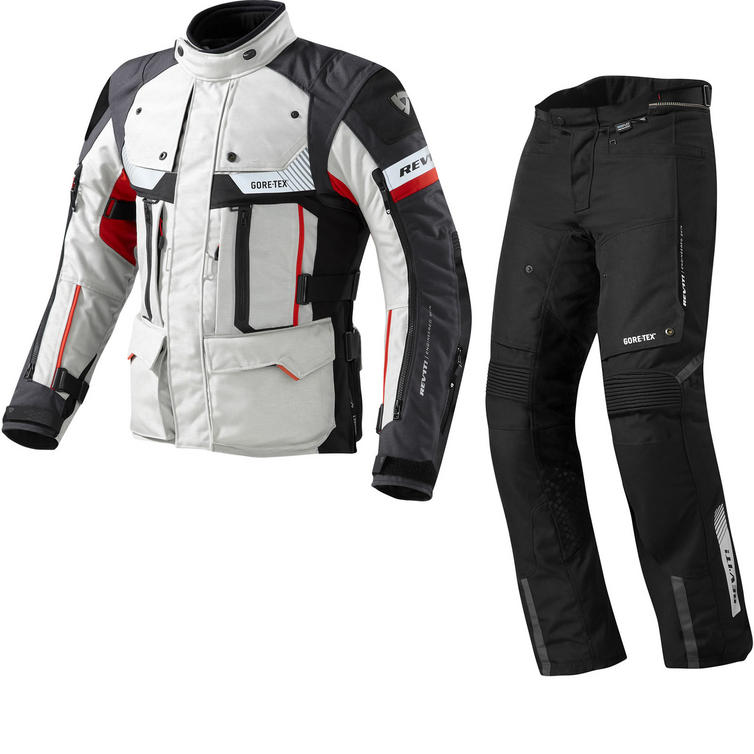 Rev It Defender Pro GTX Motorcycle Jacket and Trousers Grey Red Black Kit