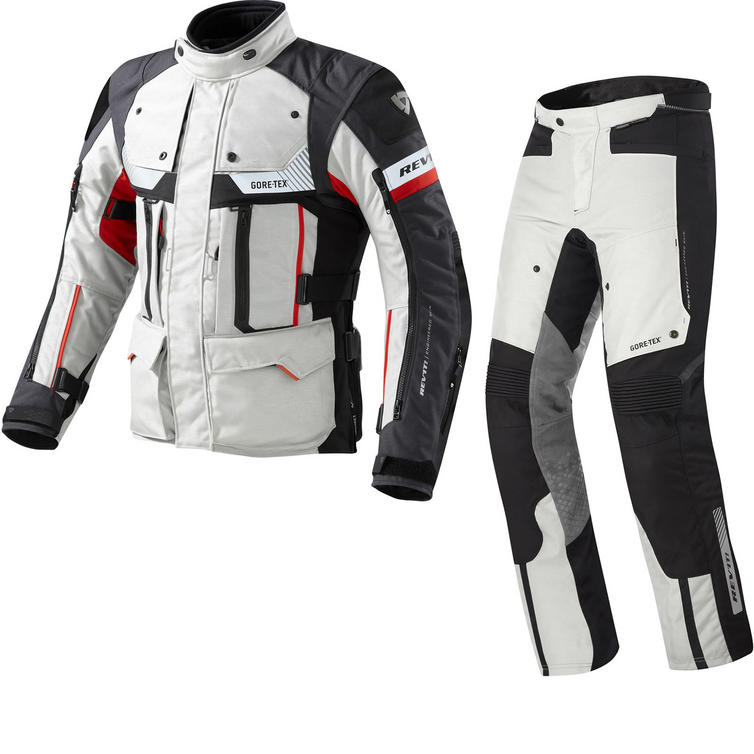 Rev It Defender Pro GTX Motorcycle Jacket and Trousers Grey Red Kit