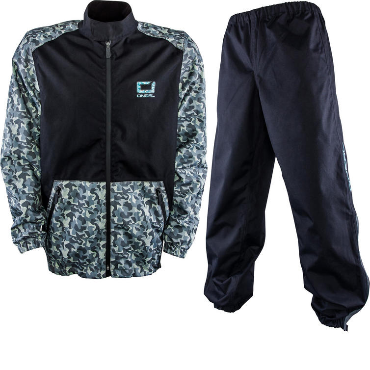 Oneal Shore II Rain Jacket and Pants Motocross Black Grey Kit