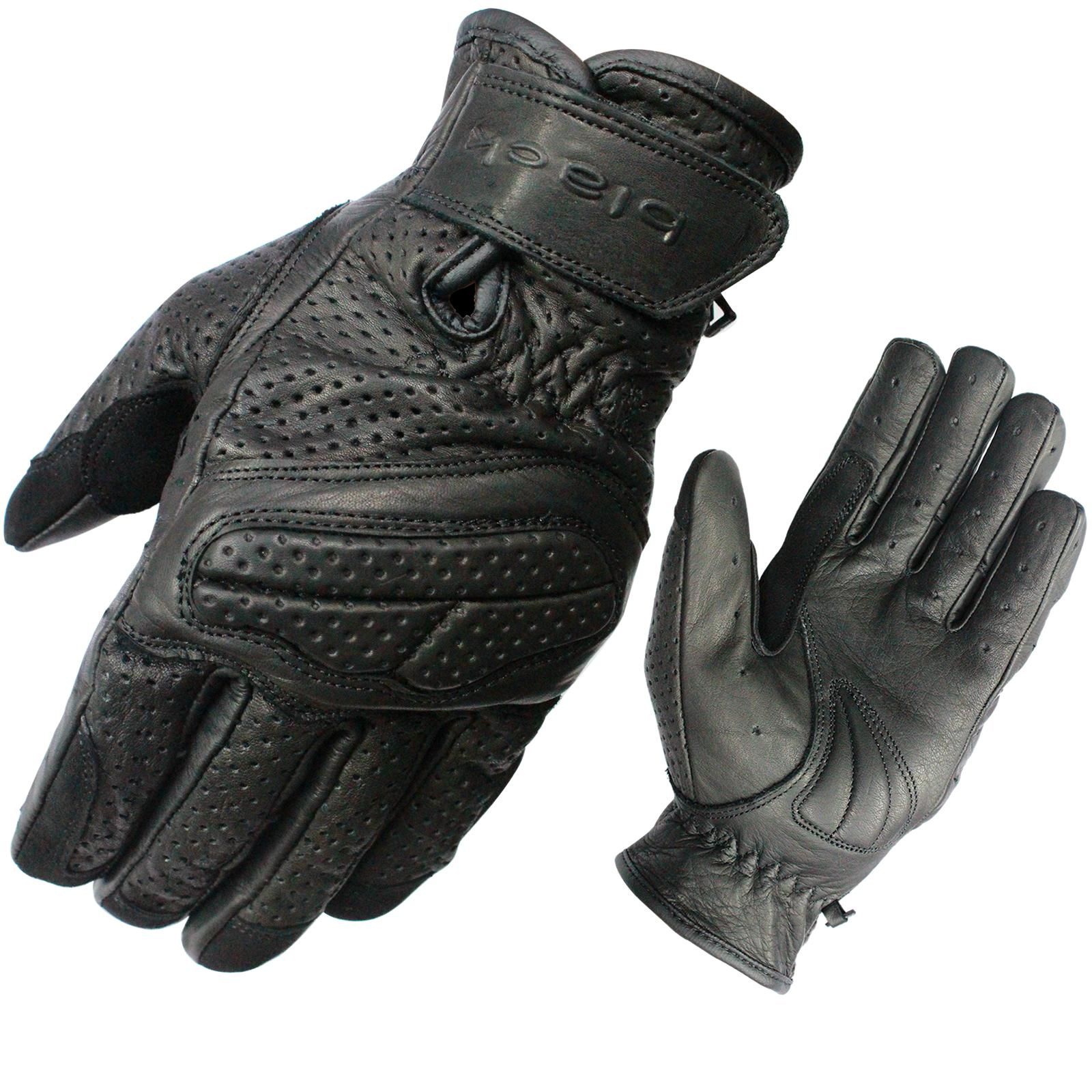 Motorcycle gloves for summer - Black Active Leather Short Motorbike Gloves Motorcycle Bike Vented Summer Glove