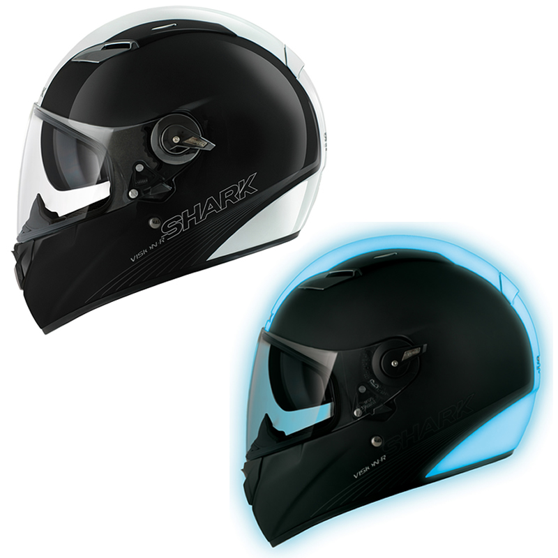 shark vision r be cool lumi glow in the dark full face motorcycle crash helmet ebay. Black Bedroom Furniture Sets. Home Design Ideas
