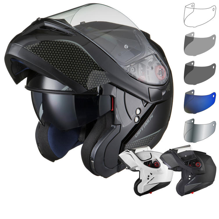 Black Optimus SV Flip Front Motorcycle Helmet Tinted Visor Kit