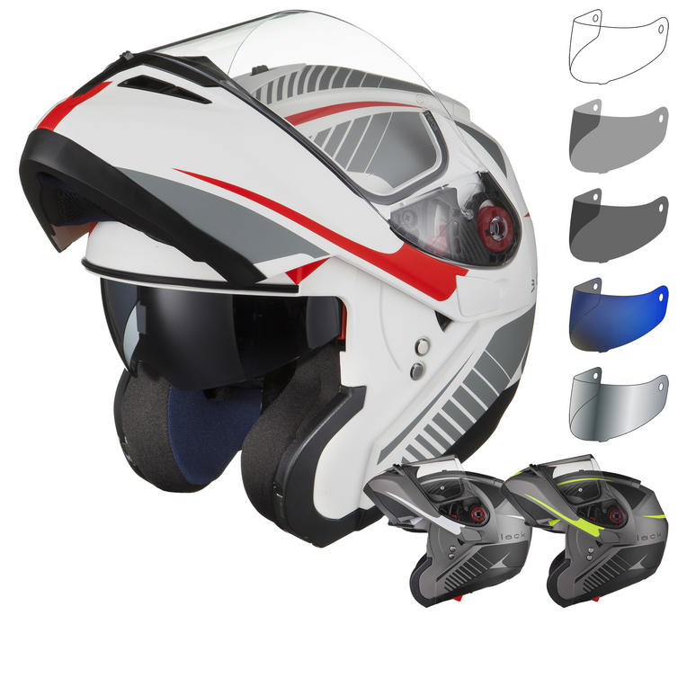 Black Optimus SV Tour Flip Front Motorcycle Helmet & Visor Kit