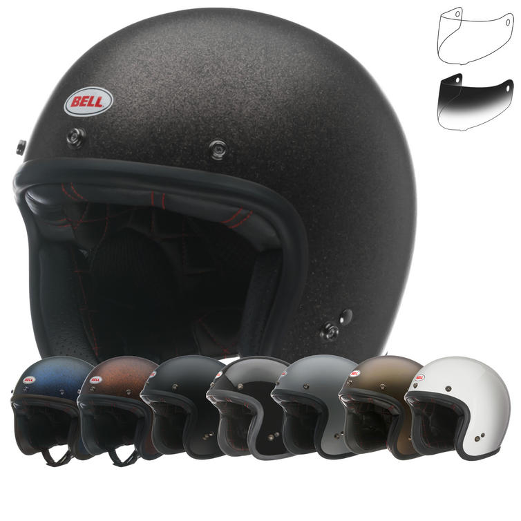 Bell Custom 500 Open Face Motorcycle Helmet & Optional Bubble Deluxe Visor
