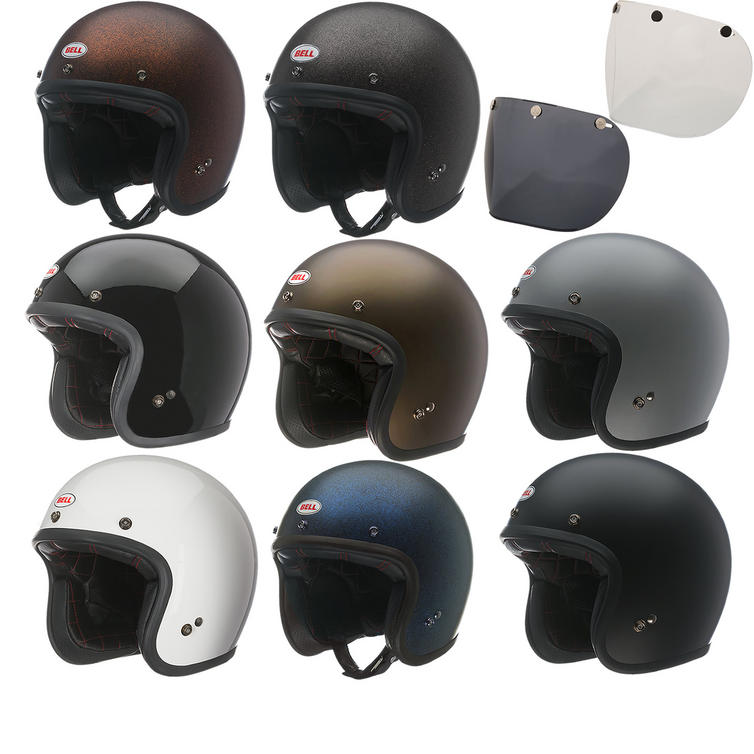 Bell Custom 500 Open Face Motorcycle Helmet & Optional Fixed Visor