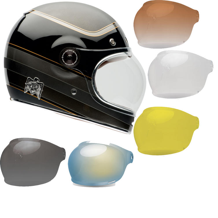 Bell Bullitt Carbon RSD Bagger Motorcycle Helmet & Black Tab Bubble Visor