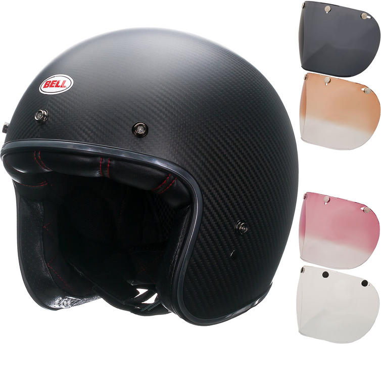 Bell Custom 500 Carbon Matte Open Face Motorcycle Helmet & Optional Fixed Visor