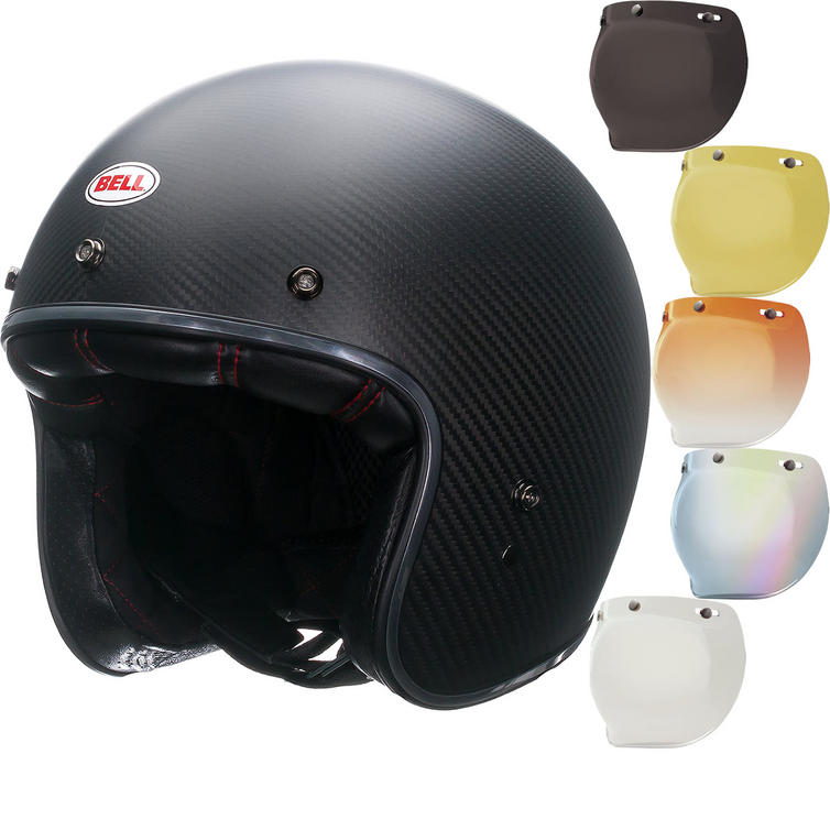 Bell Custom 500 Carbon Matte Open Face Motorcycle Helmet & Optional Bubble Visor