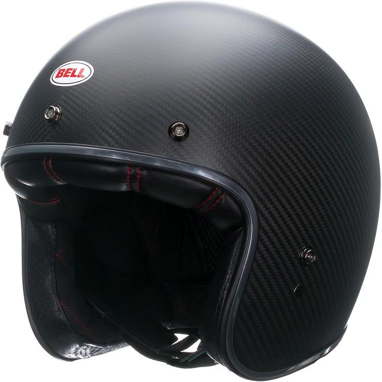 Bell Custom 500 Carbon Matte Open Face Motorcycle Helmet & Optional Bubble Visor