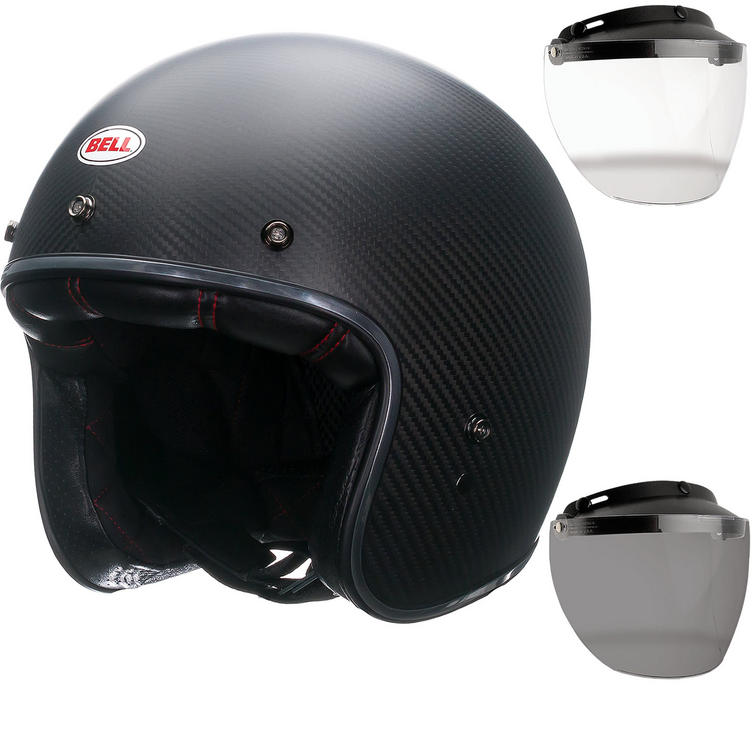 Bell Custom 500 Carbon Matte Open Face Motorcycle Helmet & Optional Flip Visor