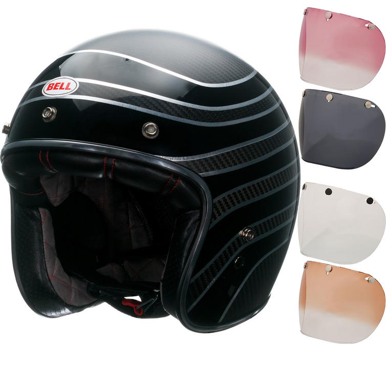 Bell Custom 500 Carbon RSD Talladega Open Face Motorcycle Helmet & Optional Fixed Visor