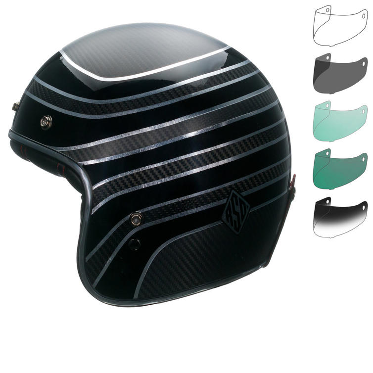 Bell Custom 500 Carbon RSD Talladega Open Face Motorcycle Helmet & Optional Bubble Deluxe Visor