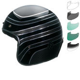 Bell Custom 500 Carbon RSD Talladega Open Face Motorcycle Helmet & Optional Bubble Deluxe Visor