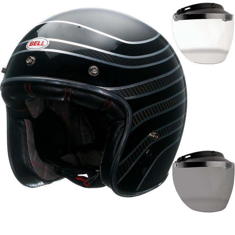 Bell Custom 500 Carbon RSD Talladega Open Face Motorcycle Helmet & Optional Flip Visor