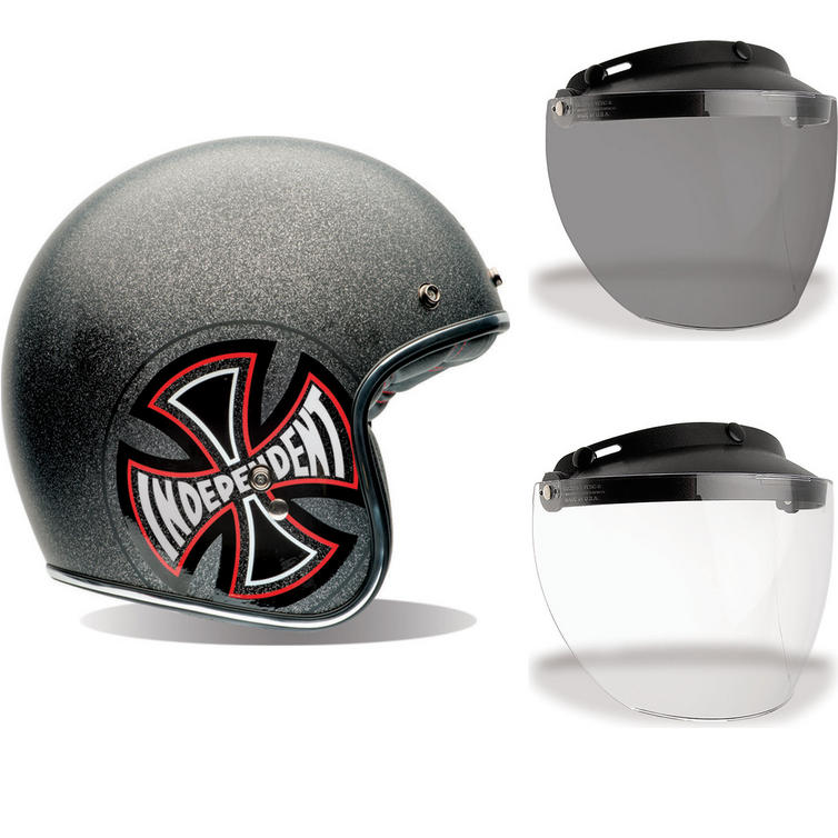Bell Custom 500 SE Indy Open Face Motorcycle Helmet & Optional Flip Visor