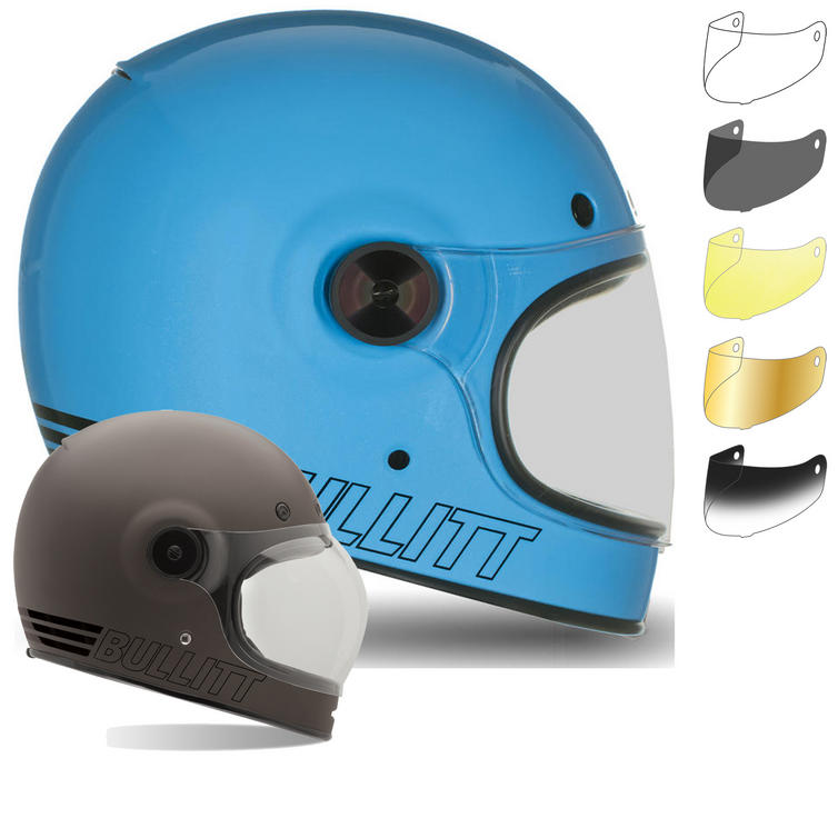 Bell Bullitt Retro Motorcycle Helmet and Brown Tab Bubble Visor