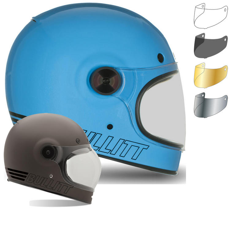 Bell Bullitt Retro Motorcycle Helmet and Black Tab Flat Visor