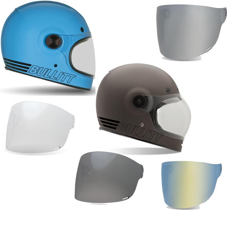 Bell Bullitt Retro Motorcycle Helmet and Brown Tab Flat Visor