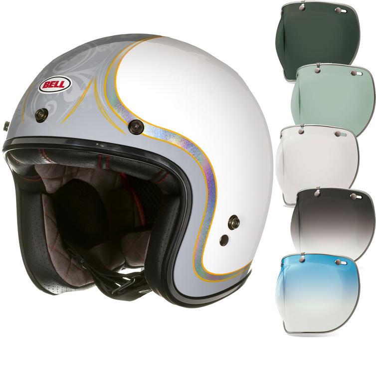 Bell Custom 500 SE Headcase Cueball Open Face Motorcycle Helmet & Optional Bubble Deluxe Visor