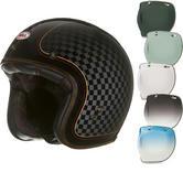 Bell Custom 500 SE RSD Check It Open Face Motorcycle Helmet & Optional Bubble Deluxe Visor