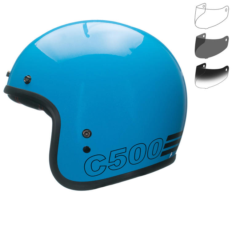 Bell Custom 500 Retro Open Face Motorcycle Helmet & Optional Fixed Visor